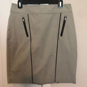 Ann Taylor khaki skirt trimmed with black